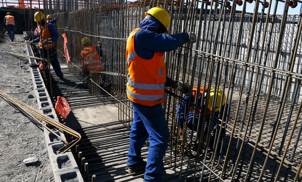 Construction workers in action