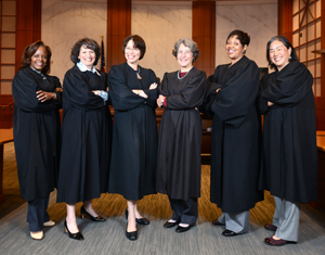 Left to right: Judges Kandis Westmore, Yvonne Gonzalez Rogers, Phyllis Hamilton, Claudia Wilken, Saundra Brown Armstrong and Donna Ryu