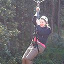 Thompson hangs from a zipline during one adventurous outing, but she likes to take regular sightseeing vacations, too.