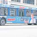 'Get Carter, Get It Done' slogan on side of bus