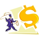 image of man lassoing dollar sign