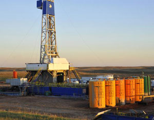 An oil well near Stanley, N.D, in the Bakken formation