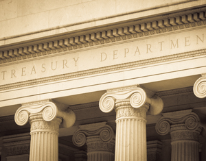 The U.S. Treasury Department facade