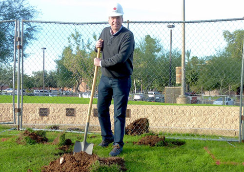 Chris Bliss breaks ground on the installation of his Bill of Rights monument in Phoenix.