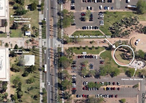Aerial view shows the proximity of the monument to the Arizona State Capitol.