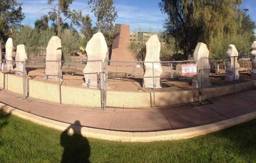 A panoramic view of the Bill of Rights monument a week before dedication ceremonies.