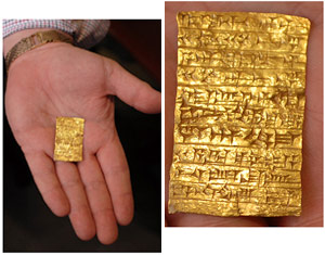 An ancient gold tablet excavated in Iraq from the site of an ancient Assyrian temple by German archaeologists in 1913