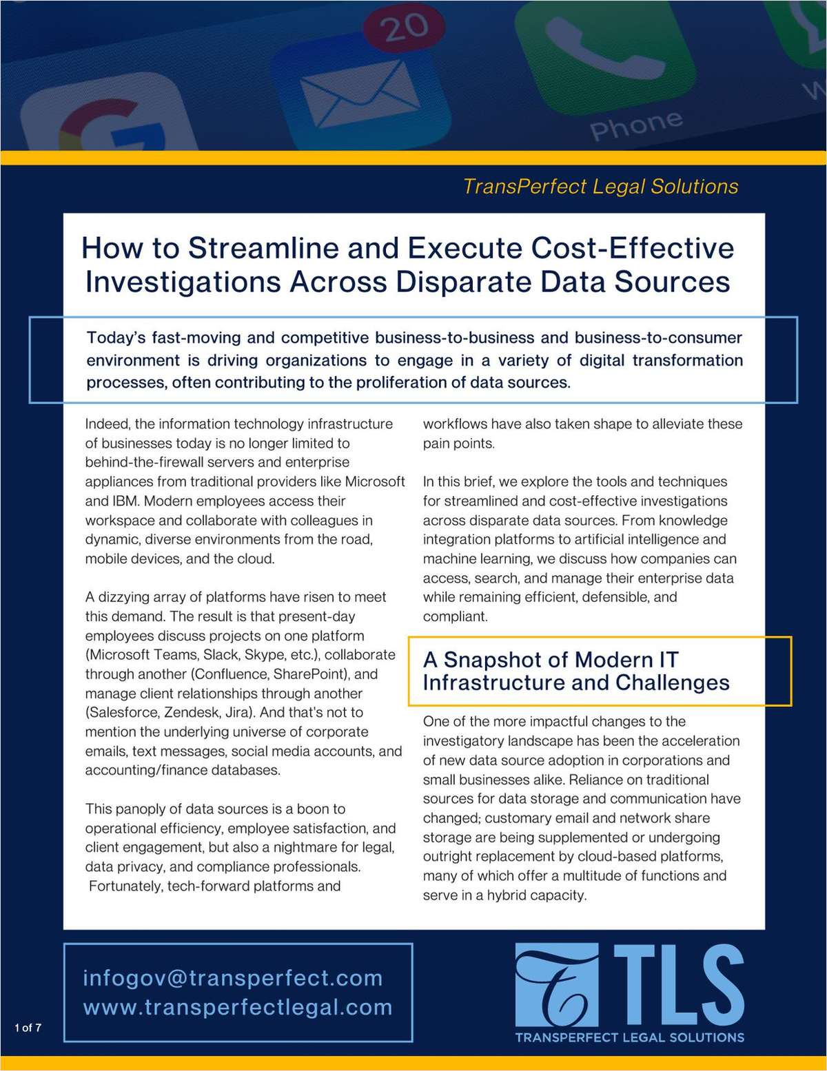 Download this brief for tools and techniques in accessing, searching and managing enterprise data while remaining efficient, defensible and compliant.